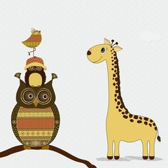 Cute giraffe with owls and bird