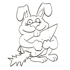 happy bunny holding in the paws of a large carrot