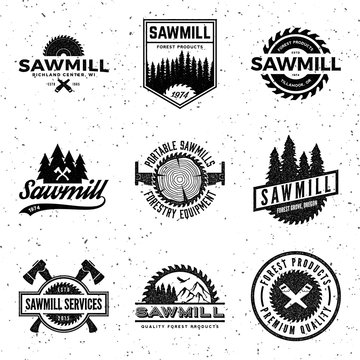 vector set of sawmill labels, badges and design elements with vi
