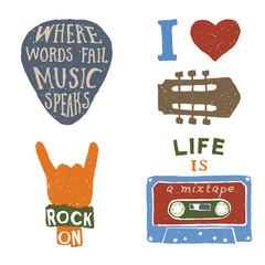 set of music hand drawn typography posters, emblems and quotes.