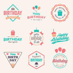 happy birthday vintage labels set. vector illustration