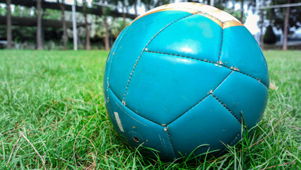 Soccer grass field with marking and ball