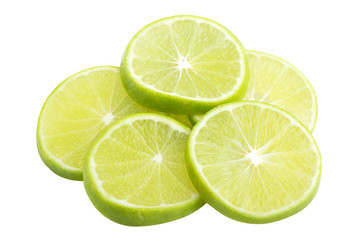 lime slice and lemon on white background