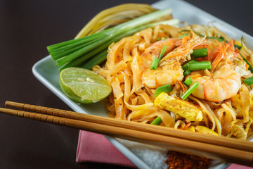 Phat Thai is Fried Noodles cooking with shrimp