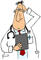 This illustration depicts a doctor wearing a lab coat looking at a clipboard and scratching his head.