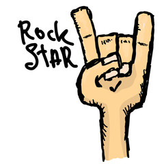 vector doodle hand sign rock n roll music