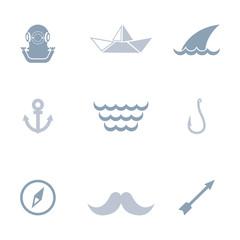 Sea journey icon set