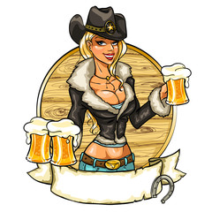 Sexy cowgirl with glasses of beer