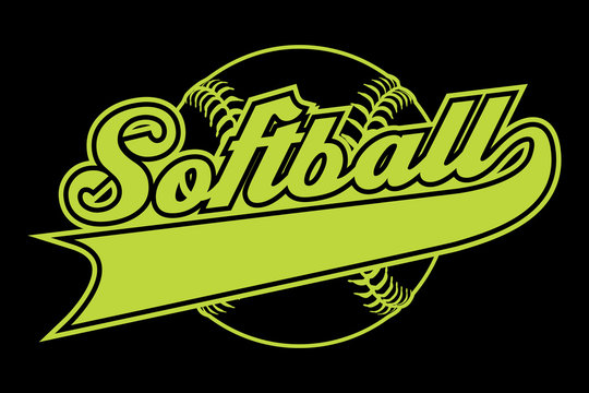 Softball Design With Banner is an illustration of a softball design with a softball and text.