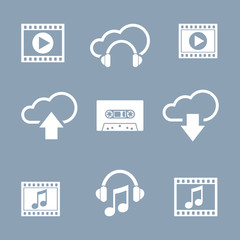 Media and music icon set