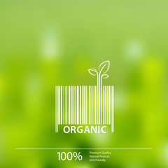 Organic barcode symbol on blurry background vector illustration