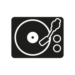 The turntable icon. DJ and melody, music, player symbol. Flat