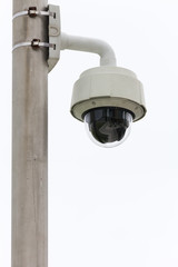 Security Camera CCTV On The Pole With Isolated Background.