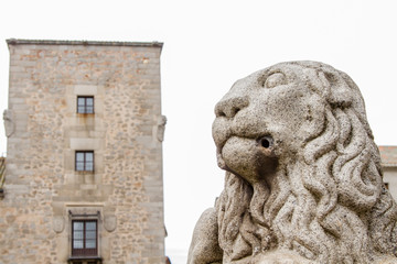 a sculpture of a granite stone lion in the city of Avila, Spain