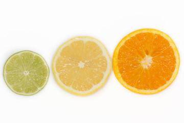 lime, lemon and orange isolated