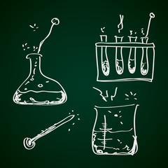 Simple doodle of a chemistry kit