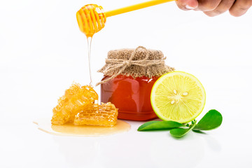 honey and lemon on white - alternative medicine