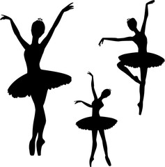 Ballerinas silhouettes set, isolated on white