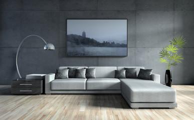 Sofa vor Betonwand mit Bild