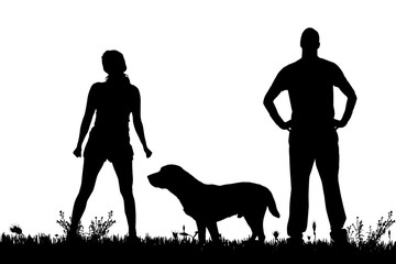 Vector silhouette of a couple with a dog.
