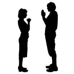 Vector silhouette of a couple.