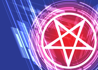Vector background shining symbol pentagram