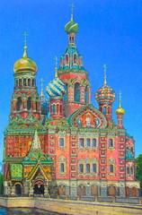Original gouache painting of St. Petersburg Church