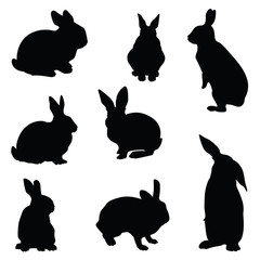 rabbit silhouette illustration set