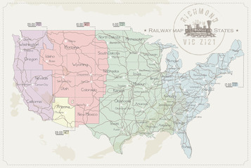 Railway map of United States in color
