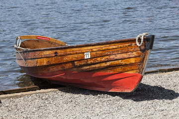 Rowing Boats at Boweness on Windermere, English Lake District, Cumbria, England, UK,