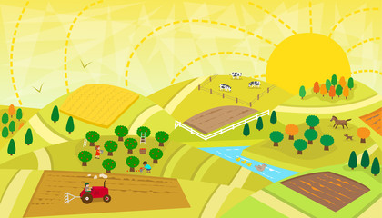 Rural Landscape - Aerial view of a rural landscape with fields, orchard, river, animals and people. Eps10