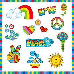 60's style Icons - Groovy colorful sixties style icons with peace and love signs. Eps10
