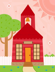 school - Cartoon schoolhouse with a bell, white fence and a tree in front of a decorative background. Eps10