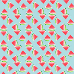 Watermelon Pattern / Pink watermelon illustration pattern on a light blue background.