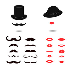 Set of mustaches and lips. Lady and gentleman vector illustration.