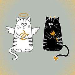 Cute cartoon cats, angel and devil. Vector illustration.