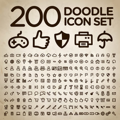 200 doodle icon universal set. EPS 10