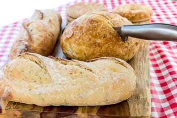 assortment of fresh baked breads