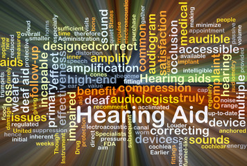 Hearing Aid background concept glowing