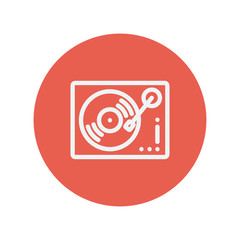 Phonograph turntable thin line icon