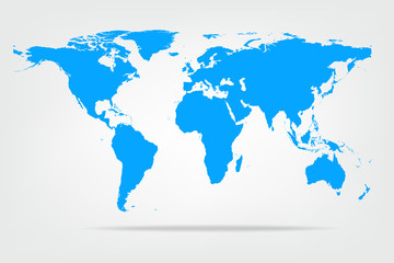 Vector illustration of high detail light blue colour world map.