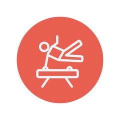 Gymnast on pommel horse thin line icon