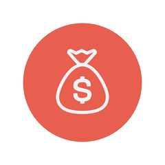 Money bag thin line icon
