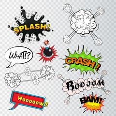Comic speech bubbles sound effects, cloud explosion vector
