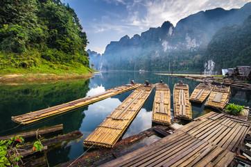 Bamboo rafting on river, ratchaprapha dam