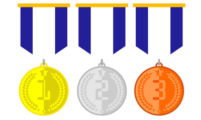 Medals Champion Rank Icons Set Clipart