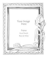 picture frame flower pencil sketch