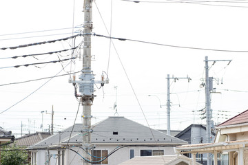 Japanese electric distribution transformer mounted on a utility pole