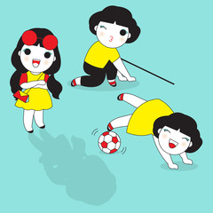Happy and Cheerful Girls illustration
