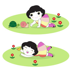 Happy Girl Playing With Animal and Butterfly In Field With Flowers illustration